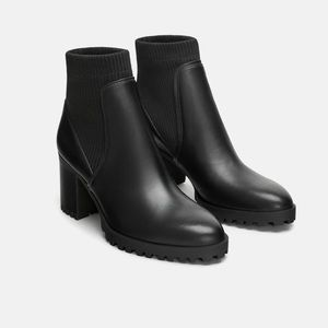 Sock Style Heeled Ankle Boots